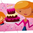 Happy birthday to you - big cake — Stock Vector