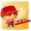 Stock Vector: Pizza delivery boy