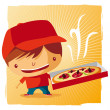 Stock Vector: Pizzdelivery boy