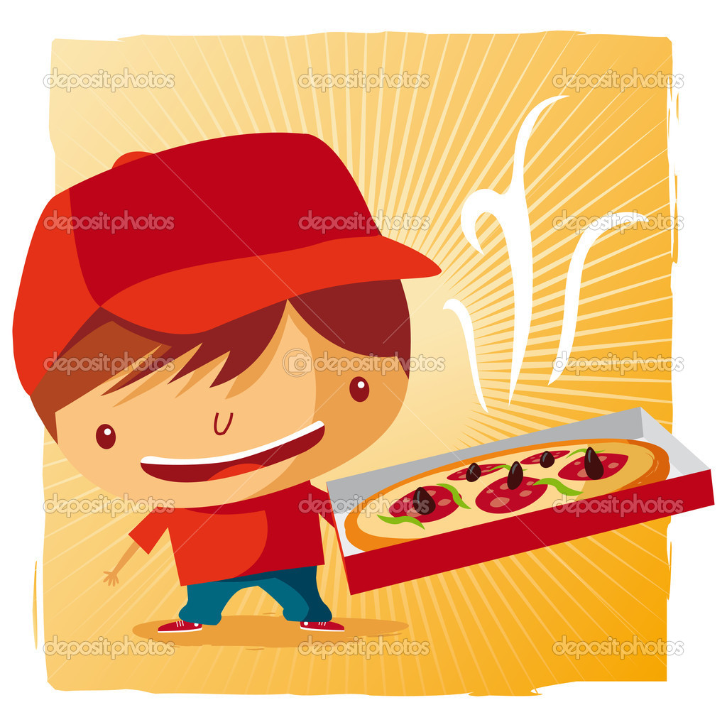 Pizza delivery boy — Stock Vector #5531226