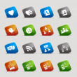 Cut Squares - Social media icons — Vector de stock