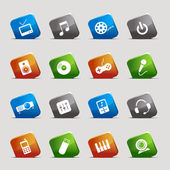 Cut Squares - Media Icons — Stock Vector