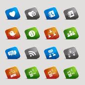 Cut Squares - Social media icons — Stock Vector