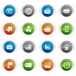 Glossy buttons - Office and Business icons — Imagens vectoriais em stock