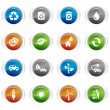 glossy buttons - ecological icons 01 — Stock Vector