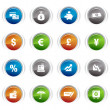 Stock Vector: Glossy buttons - Finance icons 01