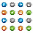 Glossy Buttons - Media Icons 01 — Stock Vector