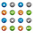 Stock Vector: Glossy buttons - warning icons 01