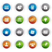 Glossy buttons - Office and Business icons — Stock Vector
