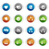 Glossy Buttons - Social media icons 01 — Stock Vector