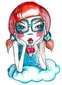 Girl with cherry — Stock Photo