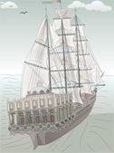 Old ship sketch vector — Vettoriale Stock