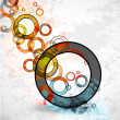 Abstract grungy circles. Vector background — Stock Vector