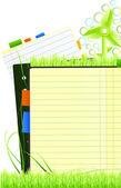 Concepto de vector verde nota página — Vector de stock
