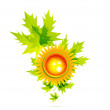 Sun with leaves. Nature concept - Stock Vector