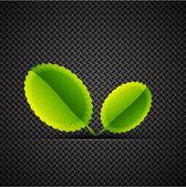炭素の背景に葉 — ストックベクタ