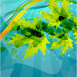 Green vector leaves on blue background — Stock Vector
