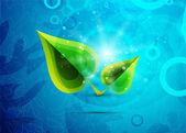 Vettore verde foglie su sfondo blu — Vettoriale Stock