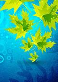青色の背景に緑ベクトルを葉します。 — ストックベクタ