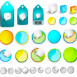 Vector abstract glossy buttons and tags — Stock Vector
