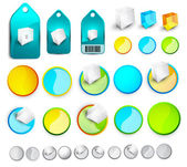 Vector abstract glossy buttons and tags — Stockvector