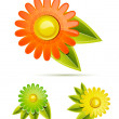 Vector glossy flowers - Stock Vector