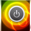 Vector power button on glowing background - Stockvectorbeeld