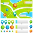 Vector map with location pointers - Stock Vector