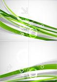 抽象的な緑線ベクトル パンフレット — ストックベクタ