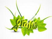 Vector naturaleza verde graffiti — Vector de stock