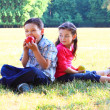 The boy with the girl play sitting on a grass — Stock Photo
