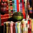 Colorful fabrics for sale in Essaouria, Morocco, Africa. — Stock Photo