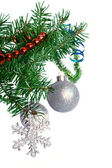 Fir tree branch with silver ball on a white background. — Stock Photo