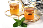 Traditional Moroccan mint tea — Stock Photo