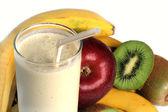 Milkshake and Fresh fruits — Stock Photo