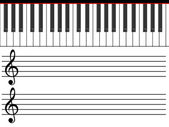 Treble clefs and piano — Stock Photo