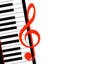 Treble clef and piano — Stock Photo
