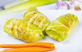 Golombki - Polish stuffed cabbage leaves. — Stock Photo