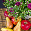 Fruit with flowers — Stock Photo