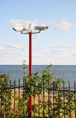 Сamera surveillance on the beach. — Stock Photo