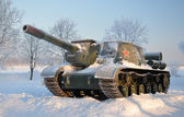 Self-propelled artillery unit. After a snowfall. — Stock Photo