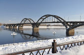The bridge over the Volga. — Stock Photo