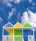 Colored beach huts — Stock Photo