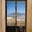 A door with a view in Fira, Santorini, Greece. — Stock Photo