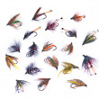 Assorted fishing flies — Stock Photo