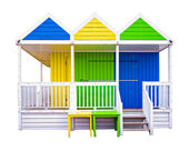 Colorful, wooden beach huts isolated on white — Stock Photo