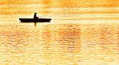 Bir fener denemeye akşam ışıltısı içinde gelen balık tutma — Stok fotoğraf
