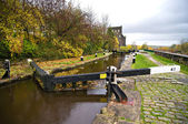 Canal lock gates — Stock Photo