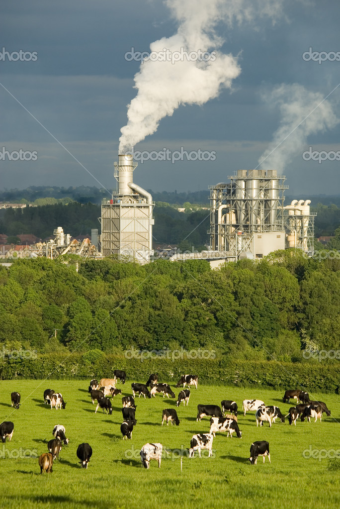 A factory belching smoke with farmland in the foreground.  Foto Stock #5497032