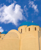 Santorini church domes — Stock Photo